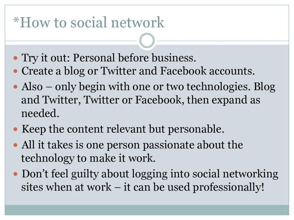 *How to social network — Try it out: Personal...