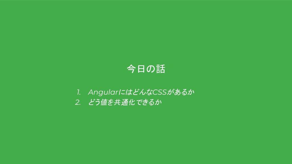 今日の話 1. AngularにはどんなCSSがあるか 2. どう値を共通化できるか