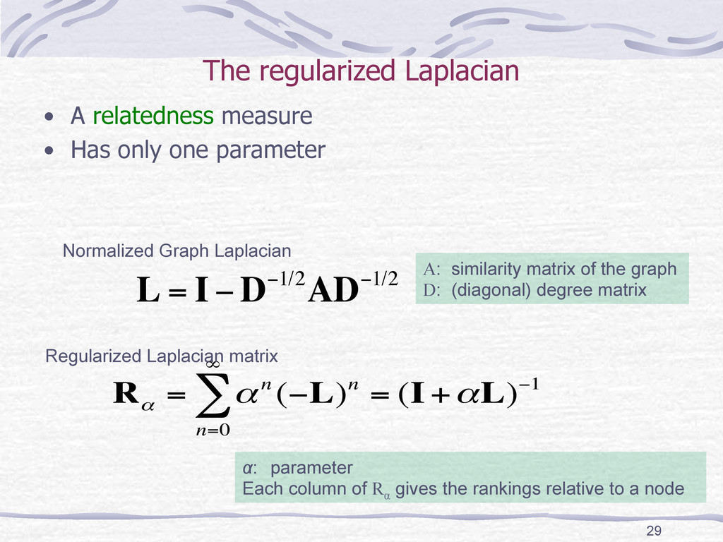 The regularized Laplacian • A relatedness me...