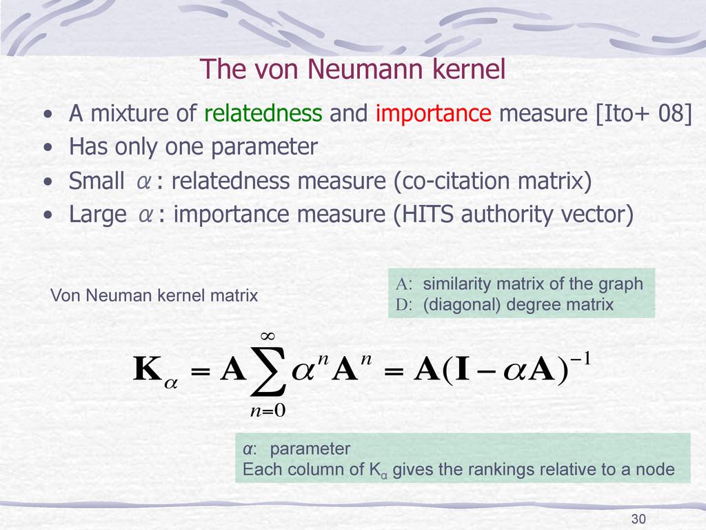 The von Neumann kernel • A mixture of relate...