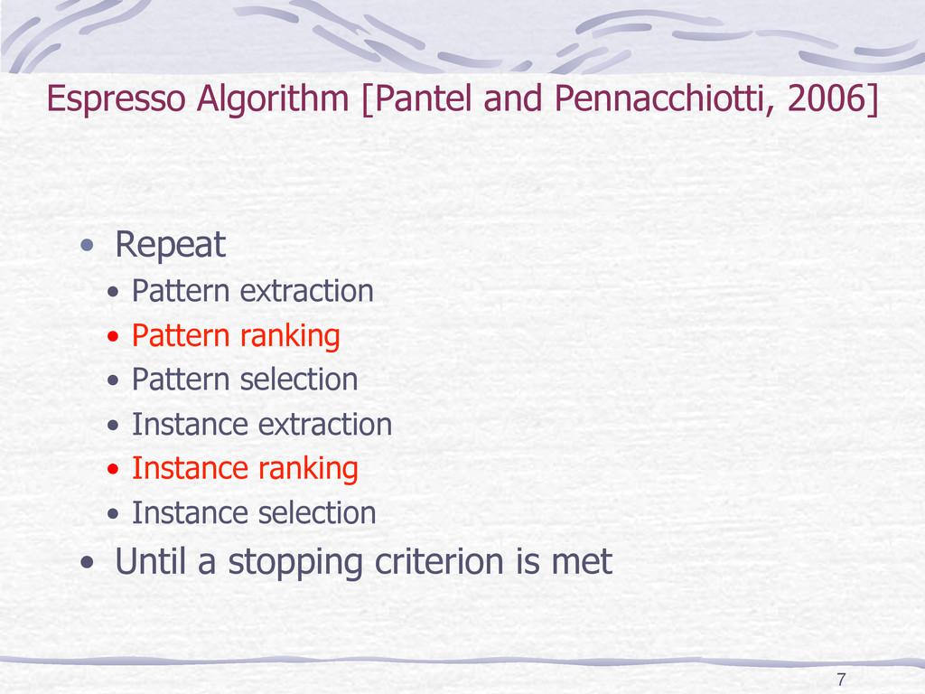 Espresso Algorithm [Pantel and Pennacchiotti, 2...