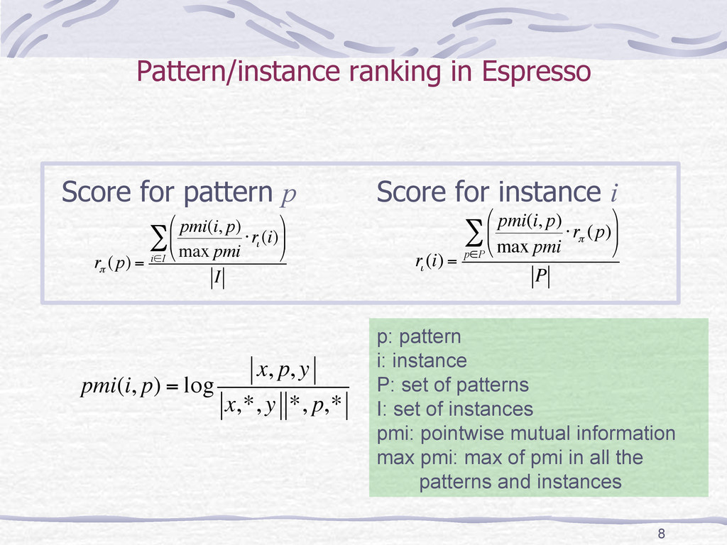 Pattern/instance ranking in Espresso Score for ...