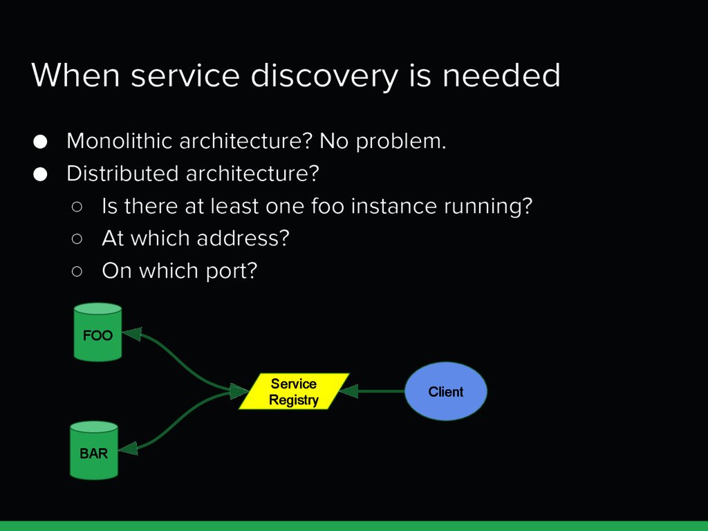 When service discovery is needed ● Monolithic a...