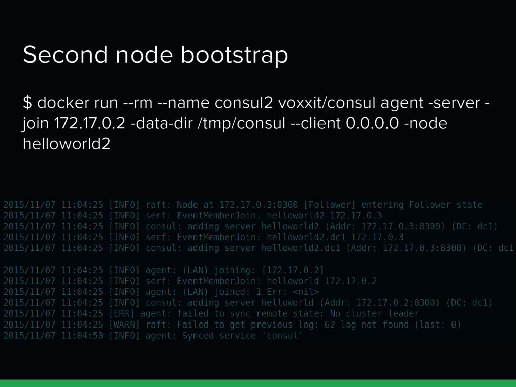 Second node bootstrap $ docker run --rm --name ...