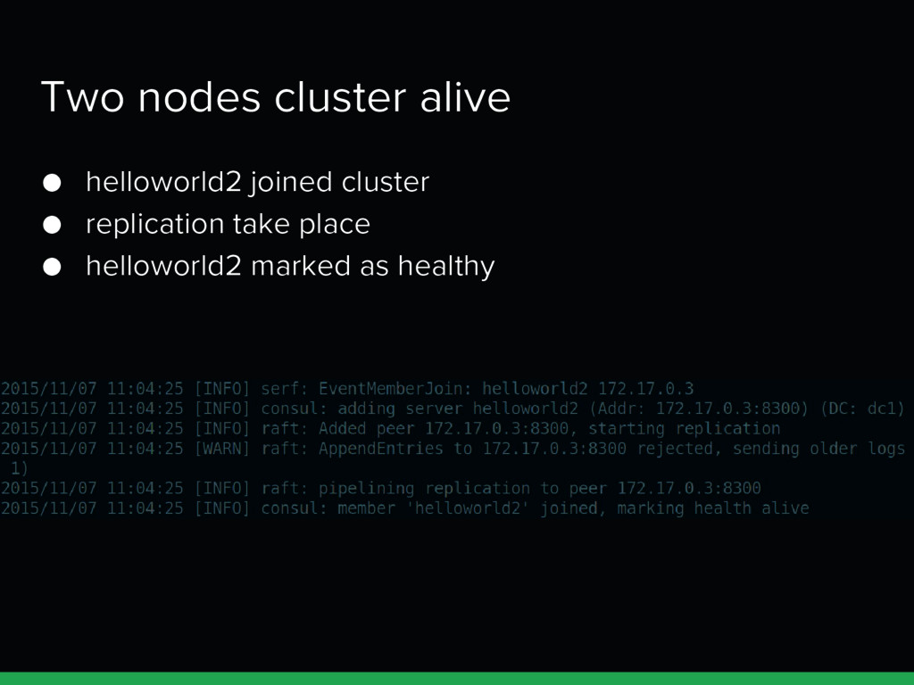 Two nodes cluster alive ● helloworld2 joined cl...