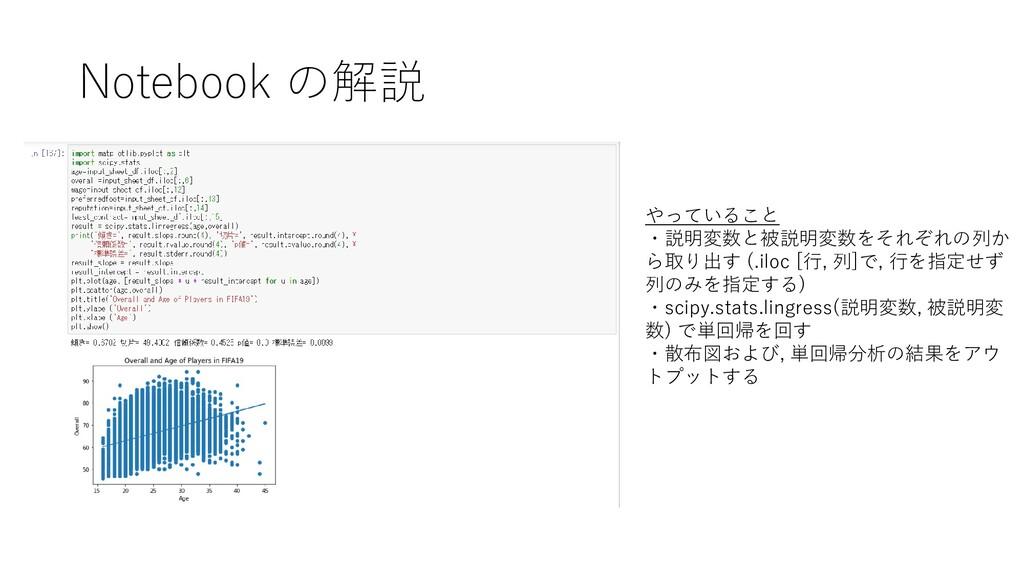 Notebook の解説 やっていること ・説明変数と被説明変数をそれぞれの列か ら取り出す ...