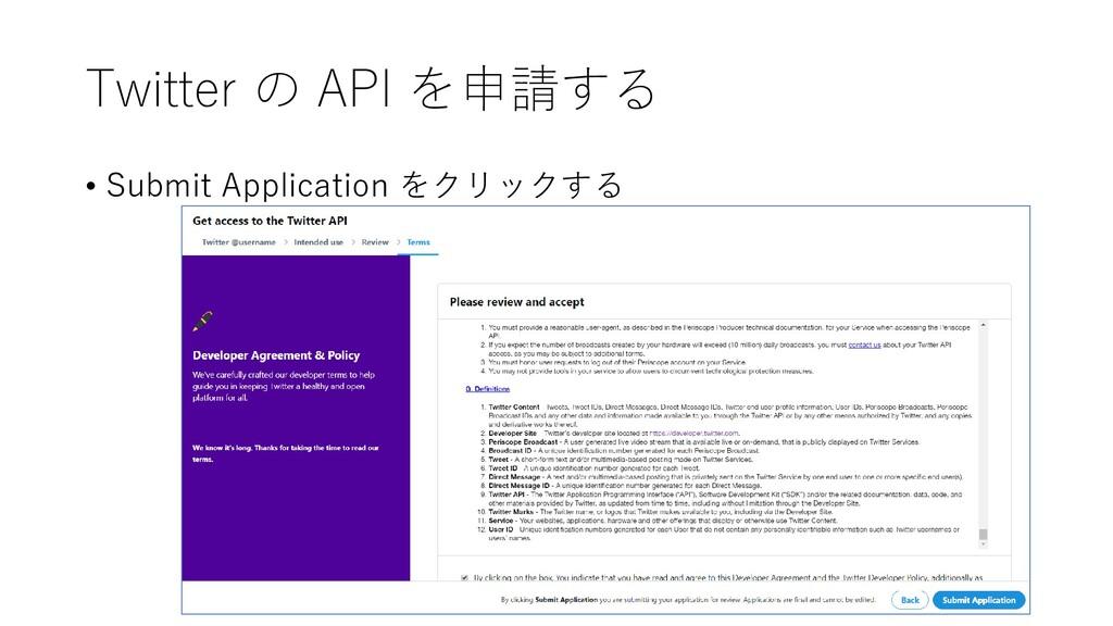 Twitter の API を申請する • Submit Application をクリックする