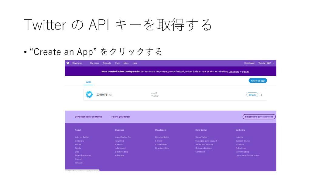 "Twitter の API キーを取得する • ""Create an App"" をクリックする"