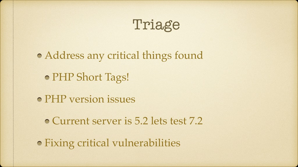 Triage Address any critical things found PHP Sh...