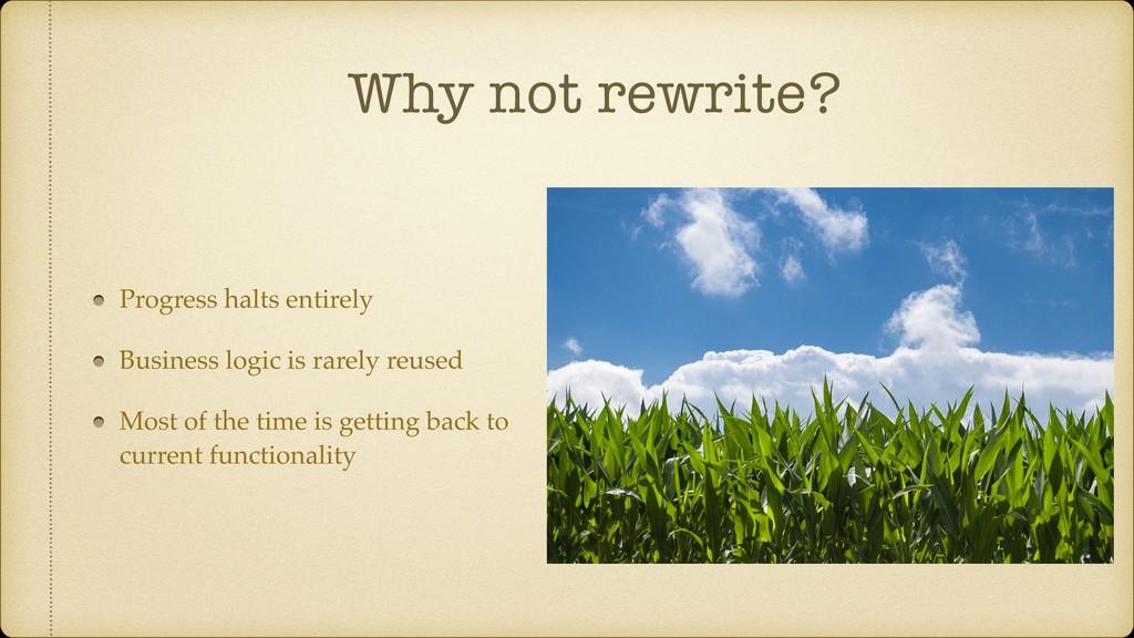 Why not rewrite? Progress halts entirely Busine...