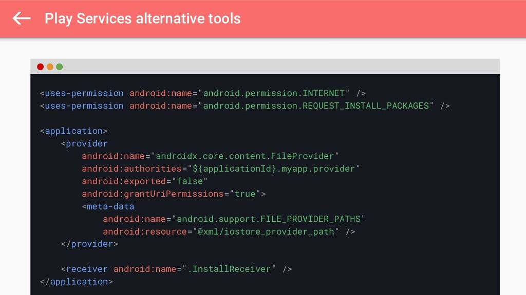 Play Services alternative tools <uses-permissio...