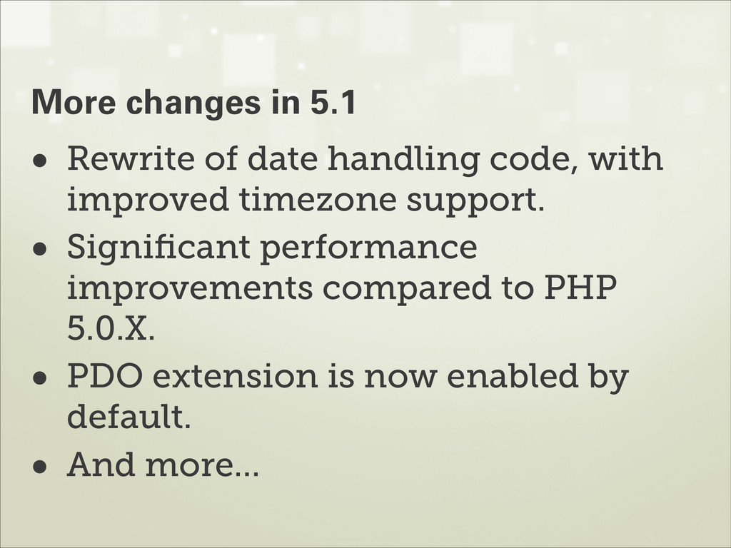• Rewrite of date handling code, with improved ...