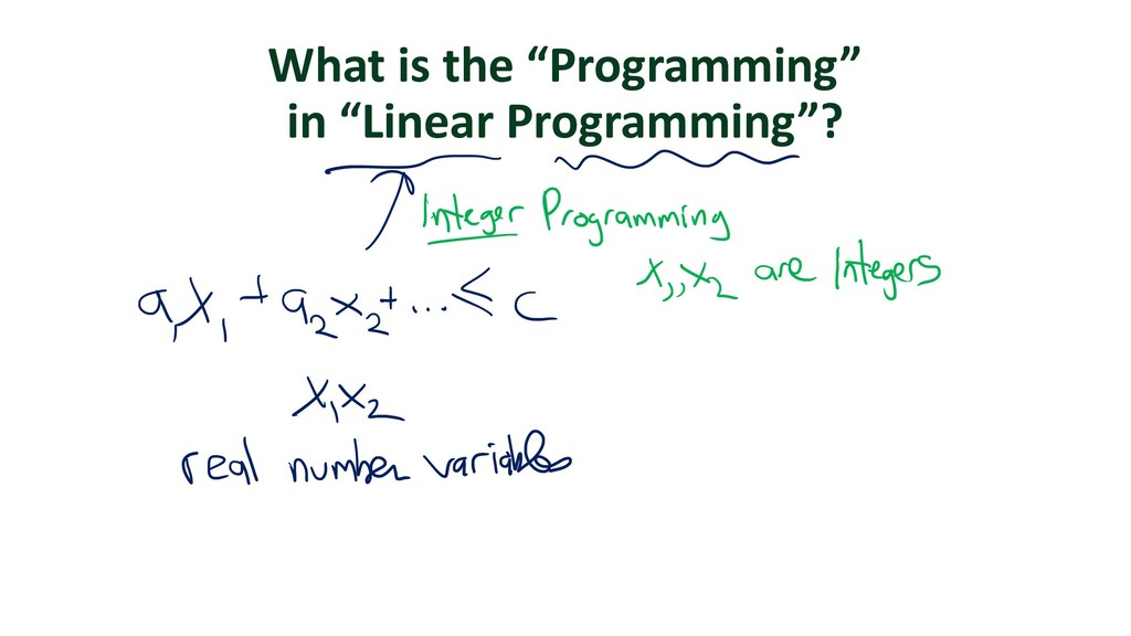 """What is the """"Programming"""" in """"Linear Programmin..."""