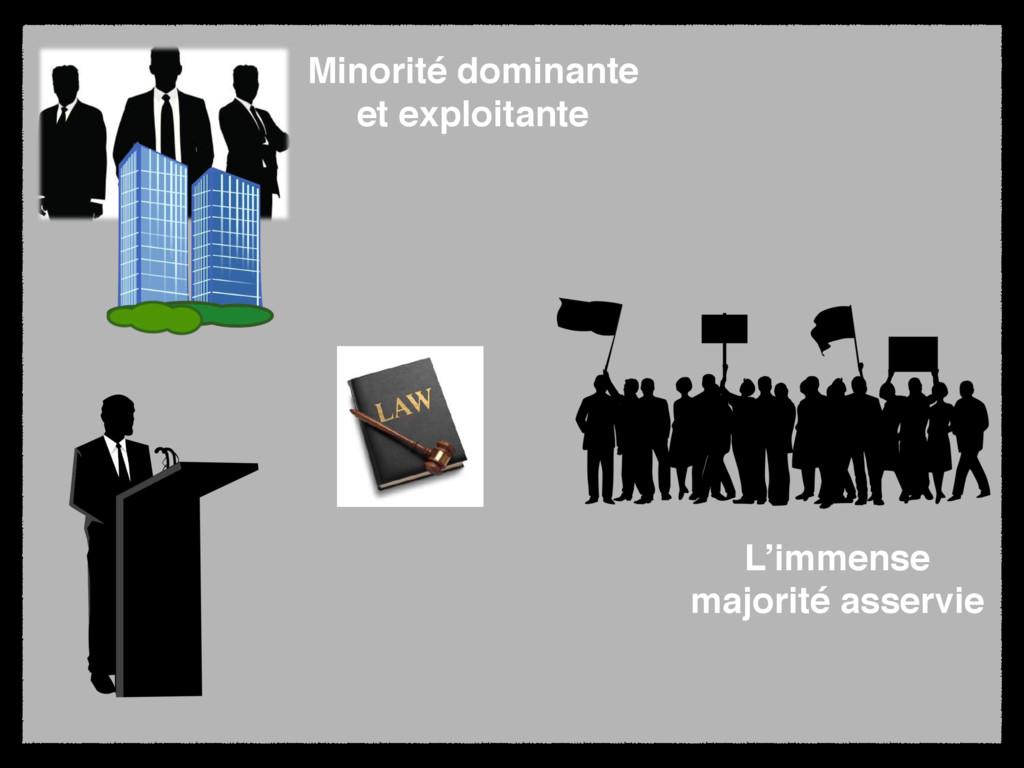 Minorité dominante et exploitante L'immense maj...
