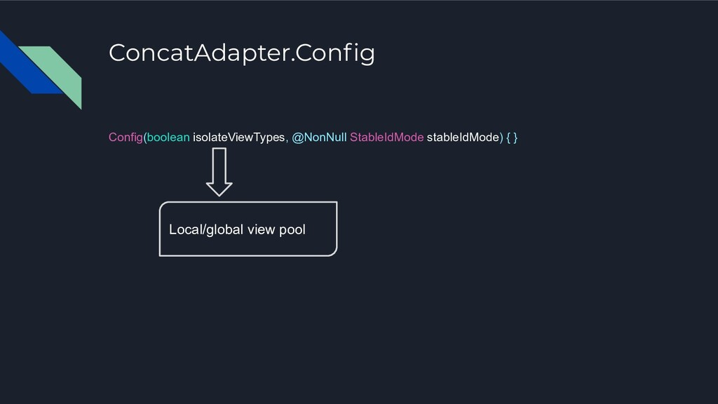 ConcatAdapter.Config Config(boolean isolateViewT...