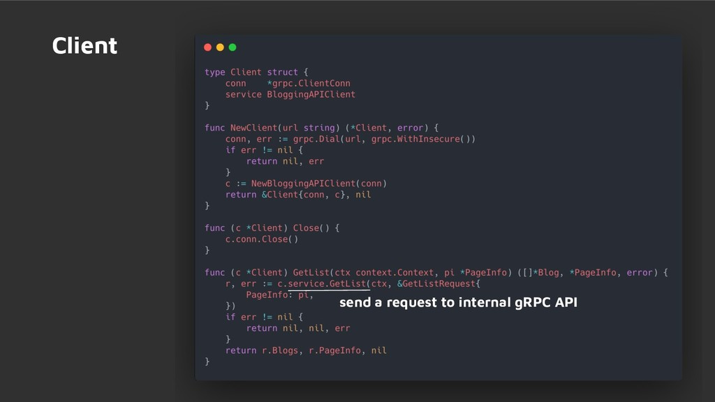 Client send a request to internal gRPC API