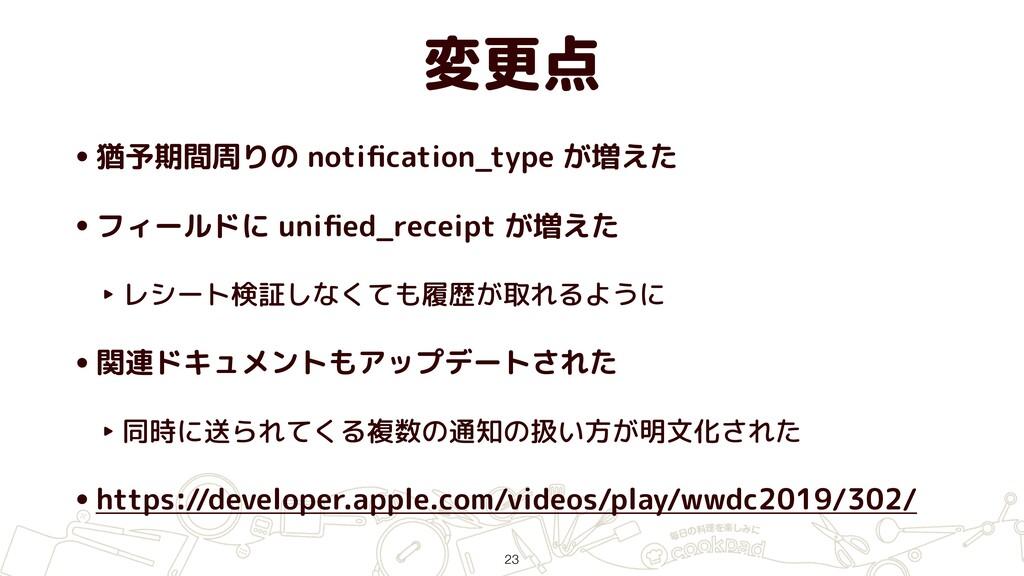 変更点 •猶予期間周りの notification_type が増えた •フィールドに unifi...