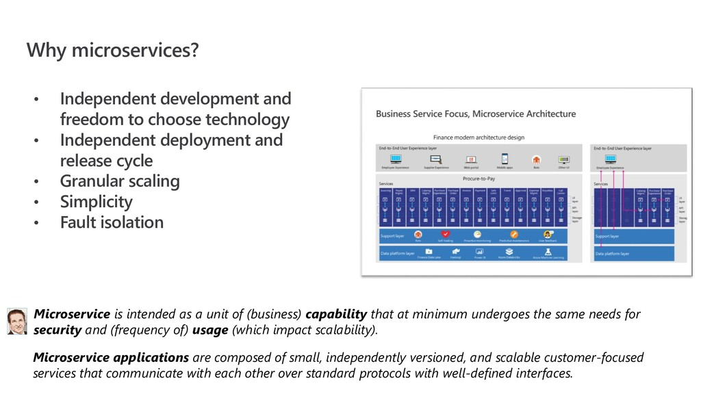 Why microservices? • Independent development an...