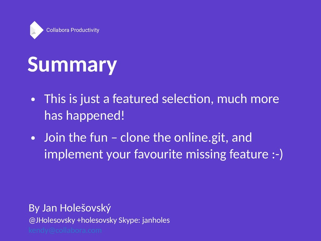 Collabora Productivity Summary By Jan Holešovsk...