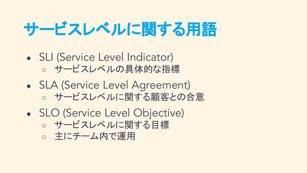 サービスレベルに関する用語 ● SLI (Service Level Indicator) ○...
