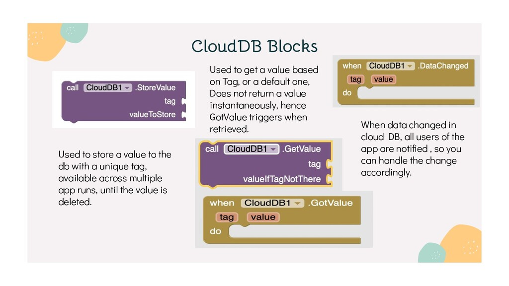 CloudDB Blocks Used to store a value to the db ...