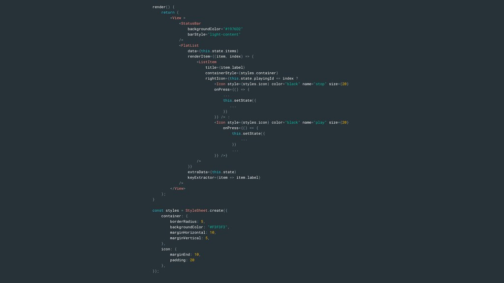 render() { return ( <View > <StatusBar backgrou...