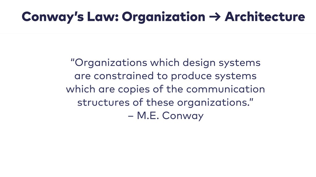 "Conway's Law: Organization → Architecture ""Orga..."