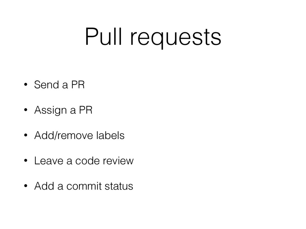 Pull requests • Send a PR • Assign a PR • Add/r...