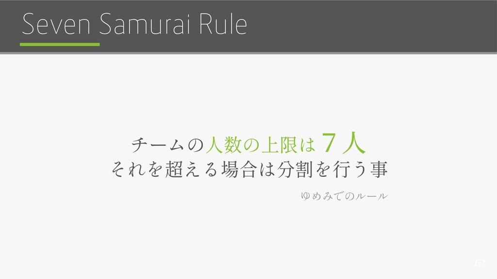67 Seven Samurai Rule 7人