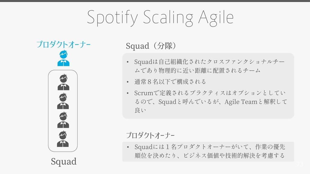 73 Spotify Scaling Agile Squad プロダクトオーナー • Squa...