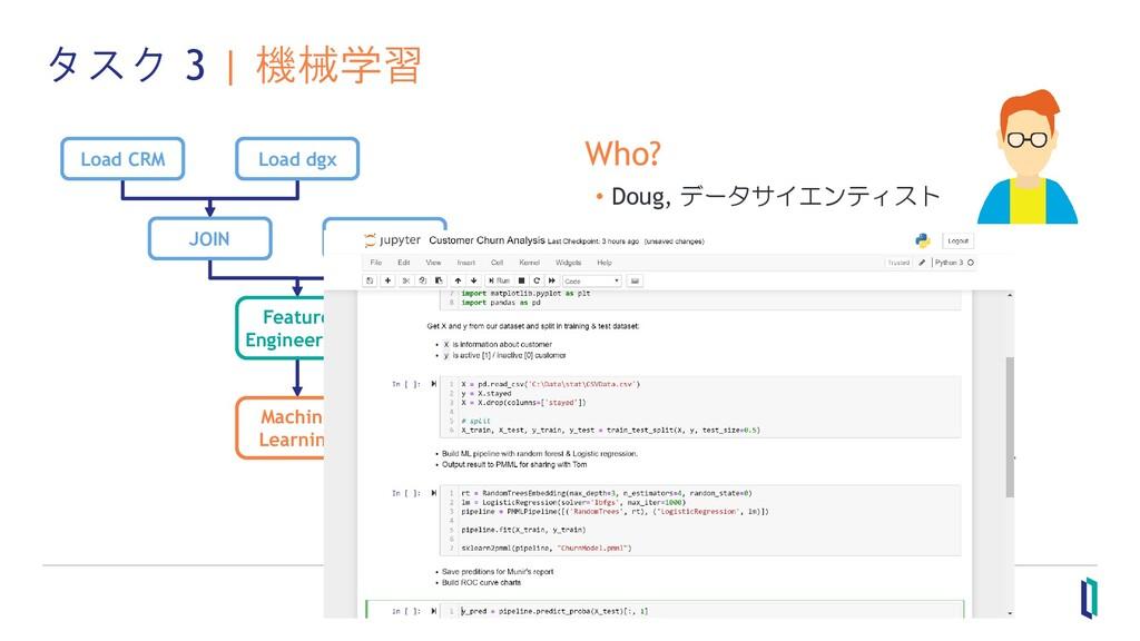 タスク 3 | 機械学習 Who? • Doug, データサイエンティスト What? • 予...