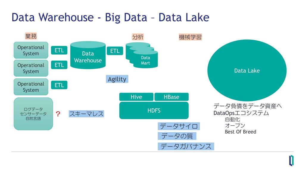 Data Warehouse - Big Data – Data Lake Operation...