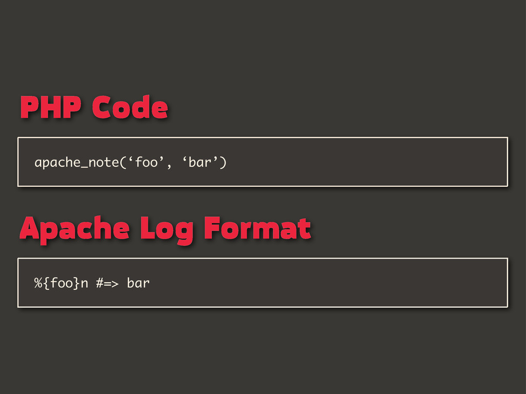 %{foo}n #=> bar apache_note('foo', 'bar') PHP C...