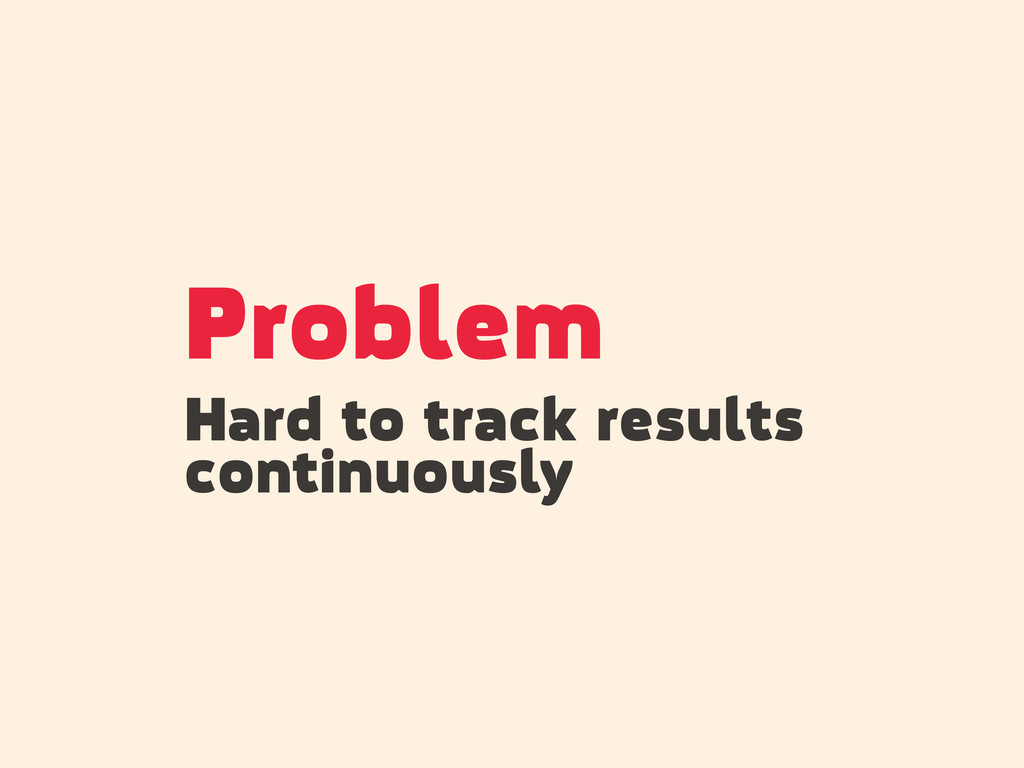 Problem Hard to track results continuously