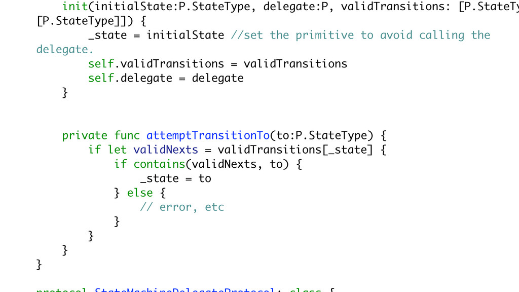 init(initialState:P.StateType, delegate:P, vali...