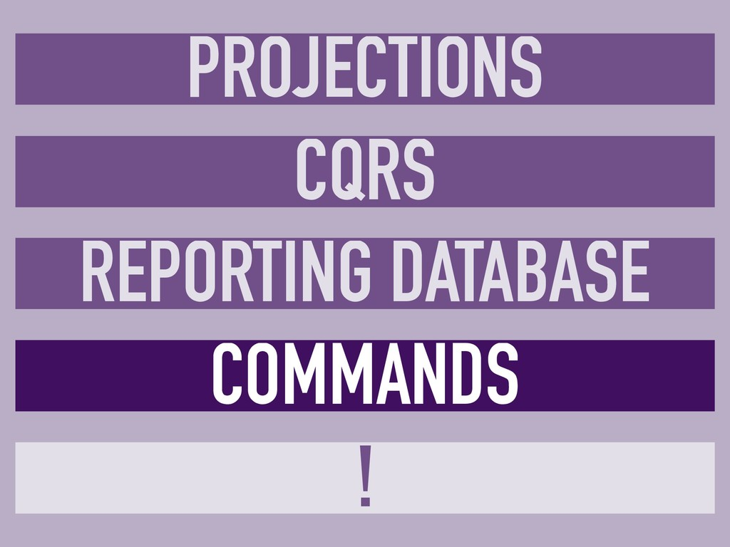 COMMANDS ! CQRS REPORTING DATABASE PROJECTIONS