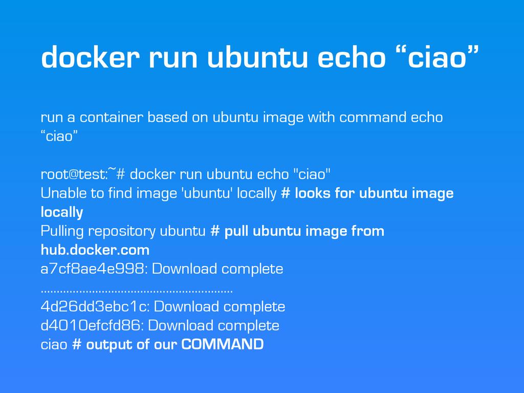 """docker run ubuntu echo """"ciao"""" run a container b..."""