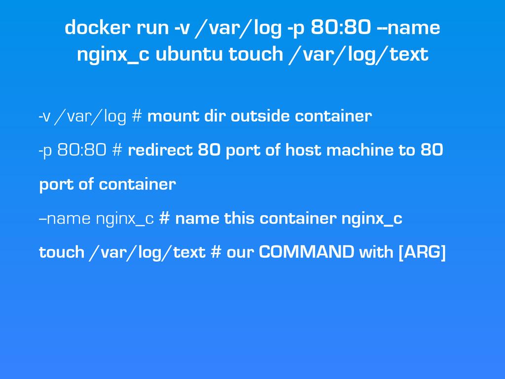 docker run -v /var/log -p 80:80 --name nginx_c ...