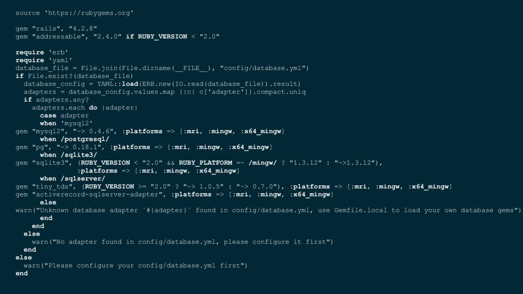 "source 'https://rubygems.org' gem ""rails"", ""4.2..."