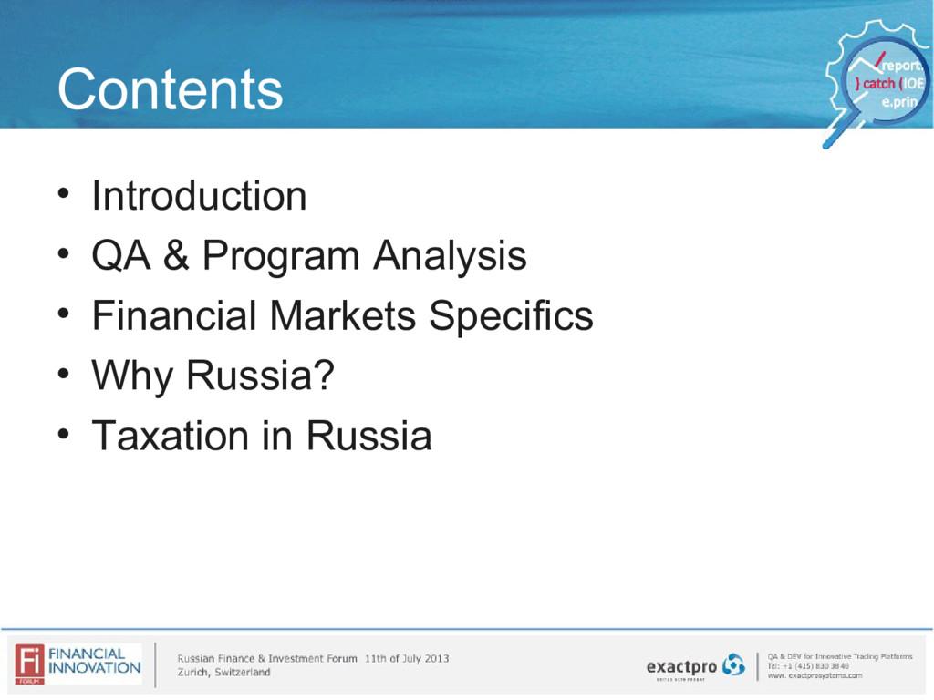 Contents • Introduction • QA & Program Analysis...