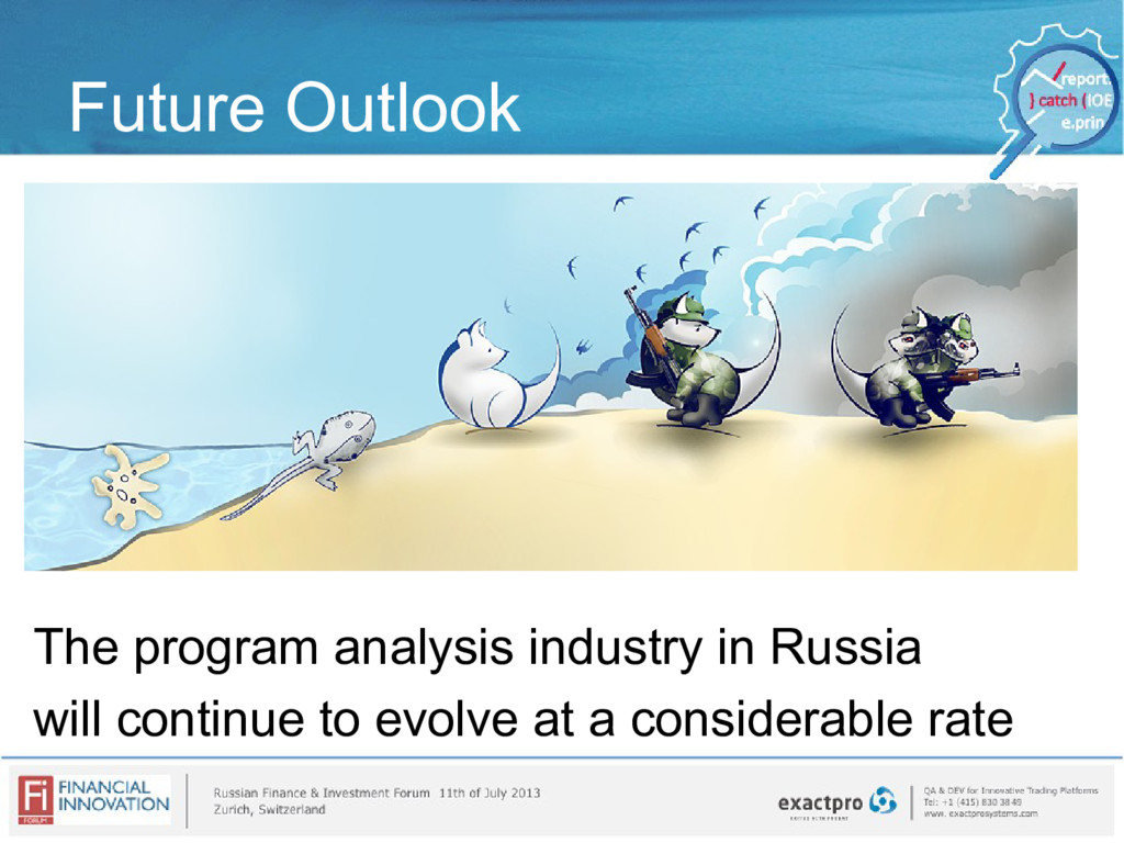 Future Outlook The program analysis industry in...