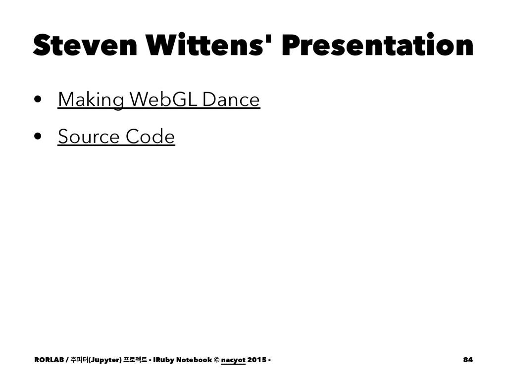 Steven Wittens' Presentation • Making WebGL Dan...