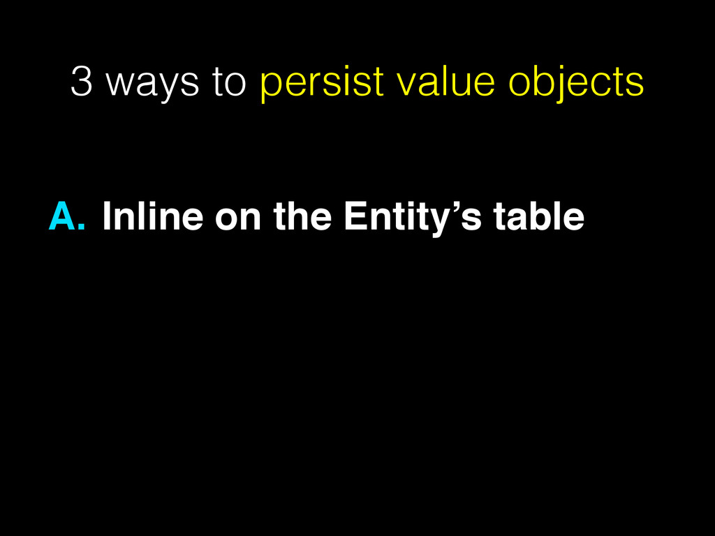 3 ways to persist value objects A. Inline on th...