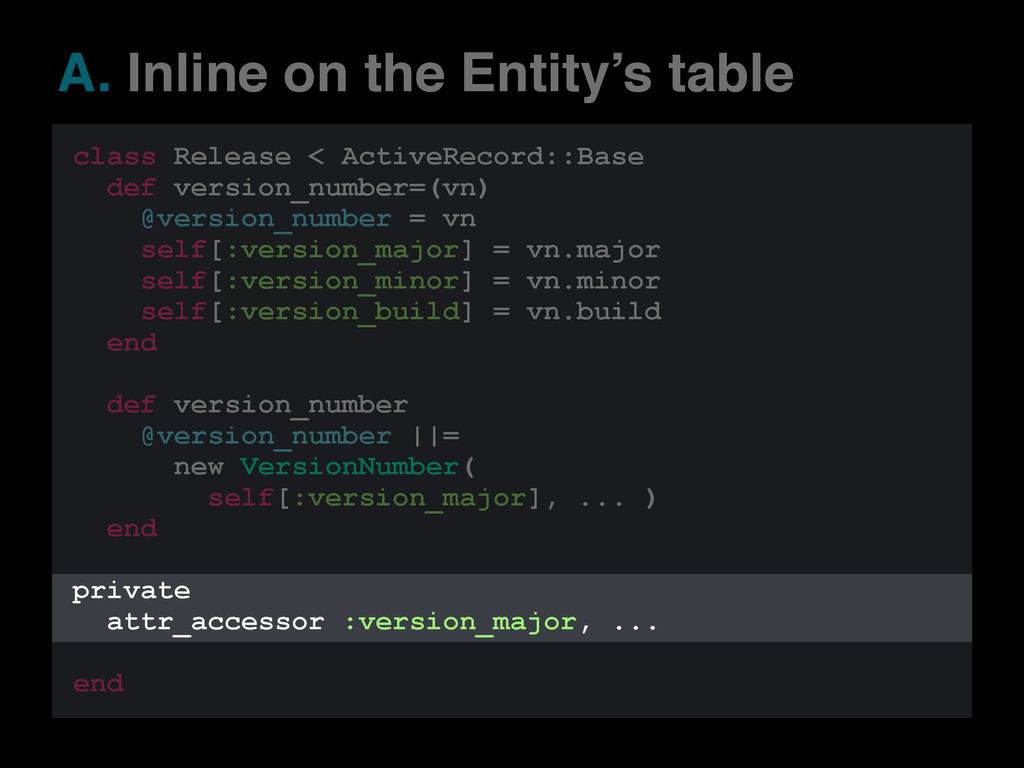 A. Inline on the Entity's table class Release <...