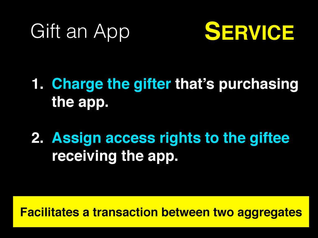 Gift an App SERVICE 1. Charge the gifter that's...