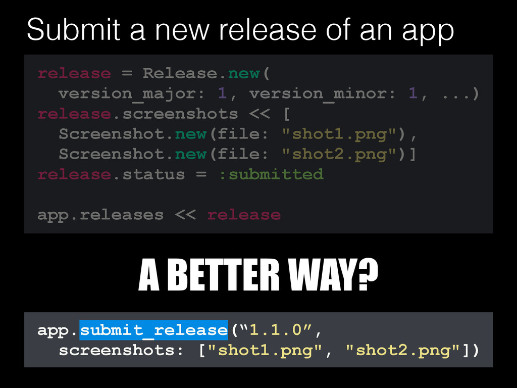 "app.submit_release(""1.1.0"", screenshots: [""shot..."