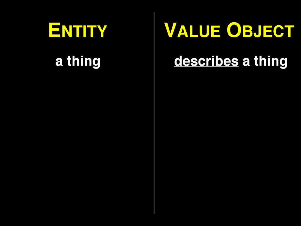 ENTITY VALUE OBJECT a thing describes a thing