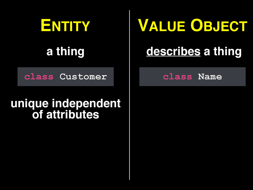 ENTITY VALUE OBJECT a thing describes a thing u...
