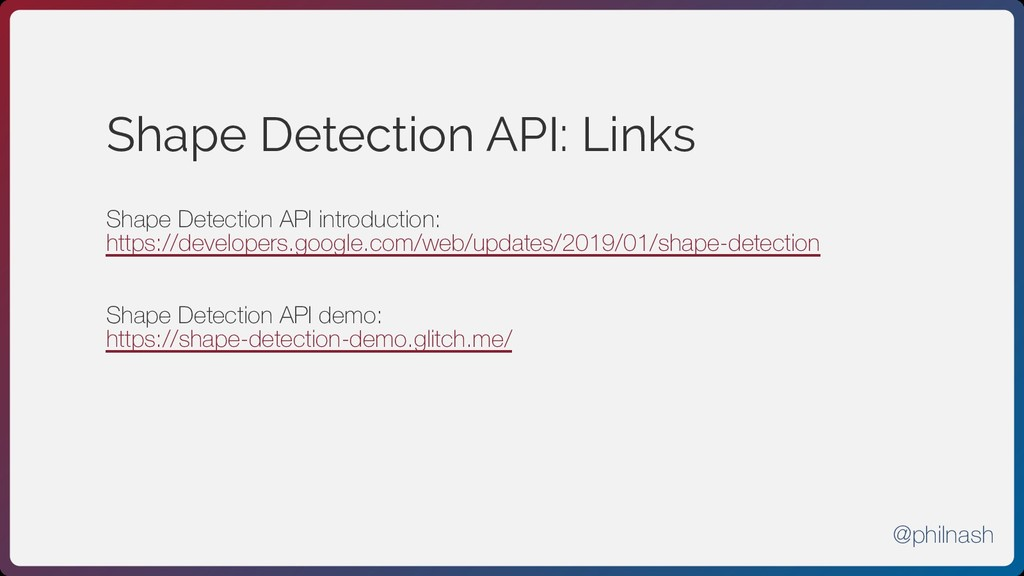 Shape Detection API: Links Shape Detection API ...