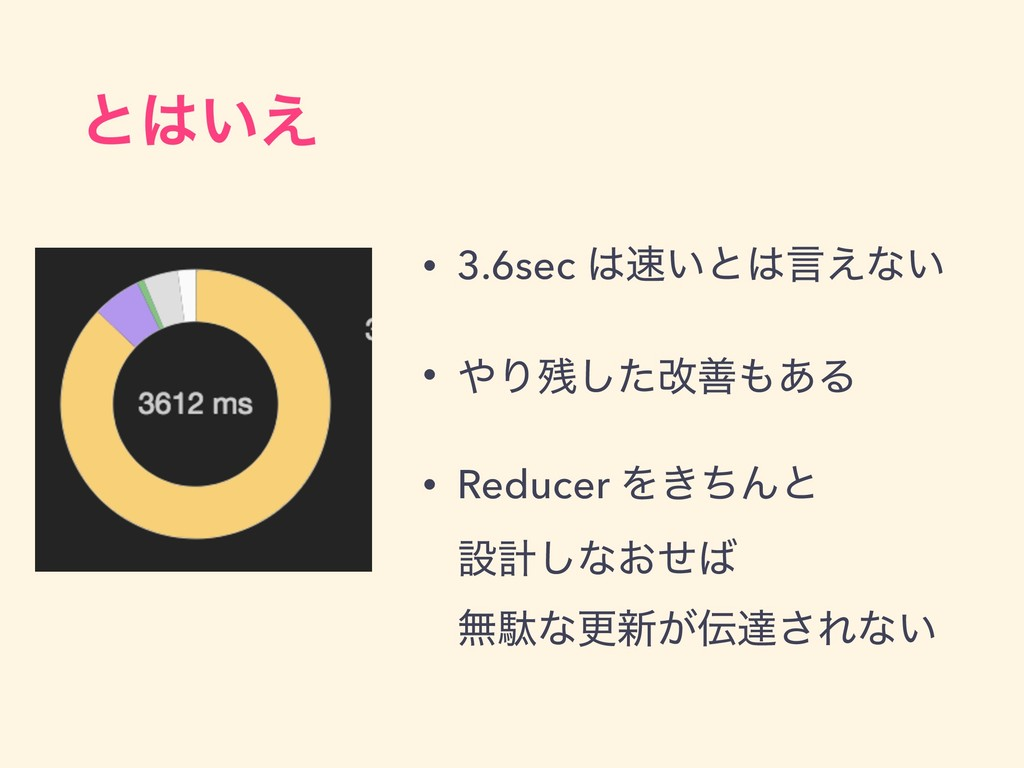 ͱ͍͑ • 3.6sec ͍ͱݴ͑ͳ͍ • Γͨ͠վળ͋Δ • Reducer ...